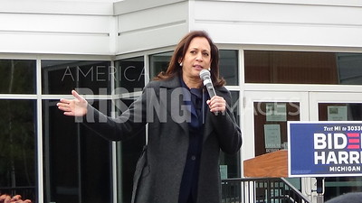 Kamala Harris and Gretchen Whitmer attend a Canvassing Event at IBEW Local 58 at 1358 Abbott Street in Detroit, MI