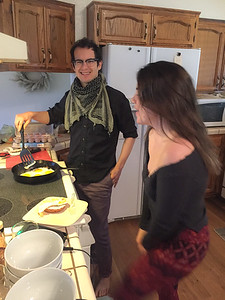 James coooking Friday morning breakfast with Petra - Sean and Kamille's wedding in Three Rivers
