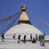 Boudhanath temple (stupa). The yellow markings are a mixture of while plaster and jasmine.