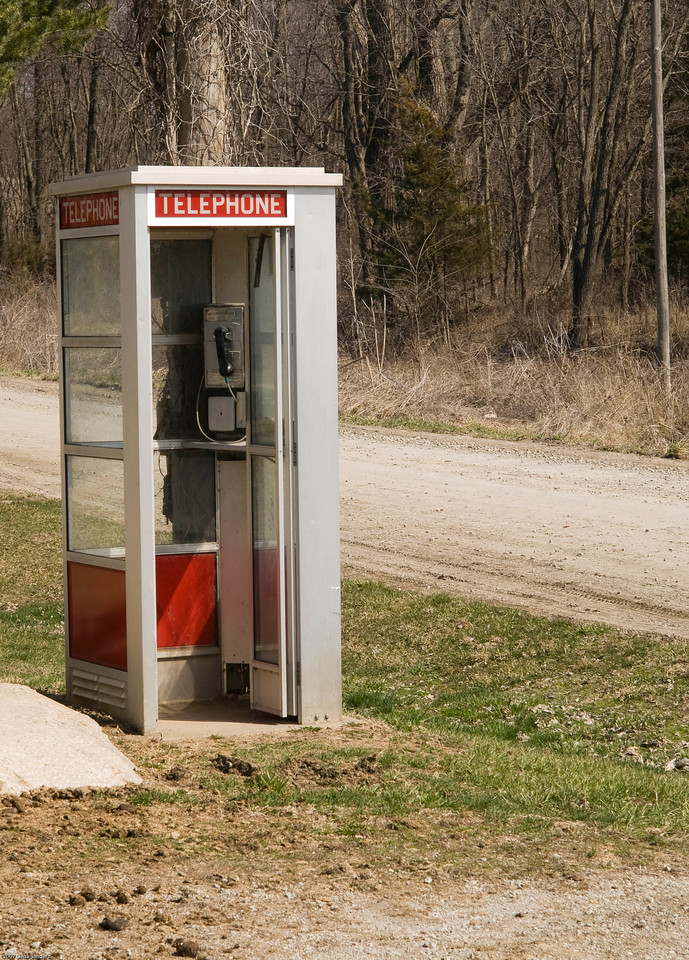 Phone booth in the middle of no where