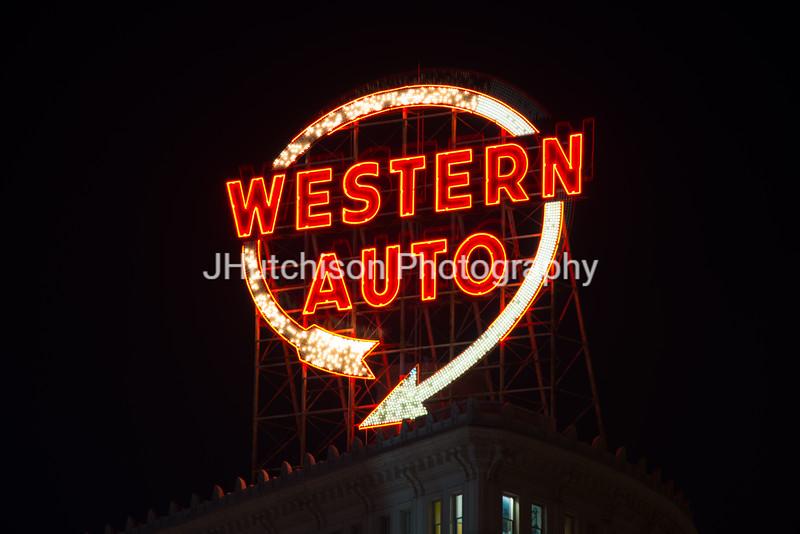KC0032 - Historic Western Auto Sign, Night