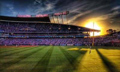 Sunset at Kaufman Stadium