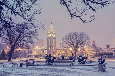 JC Nichols Fountain in Snow