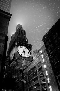 Commerce Clock in Snow #1