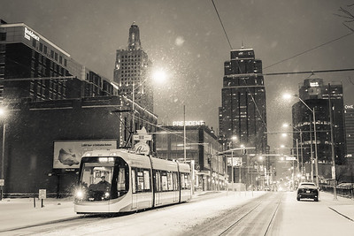 Steetcar driver in Snow