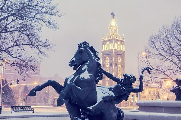 JC Nichols statue in Snow