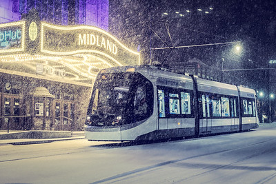 Snowy Streetcar at the Midland