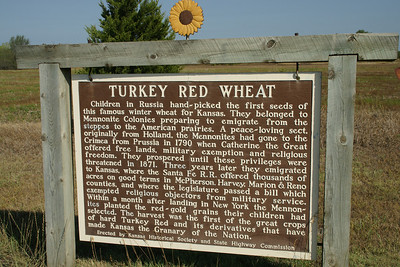 Monument in Walton, KS about the origins of Turkey Red Winter Wheat in Kansas. This wheat was brought from Russia by Mennonite settlers. See more about the wheat and Mennonite settlers at the Mennonite Heritage Museum in Goessel, Kansas. Also see the Kansas Historical Society page: http://www.kshs.org/p/cool-things-turkey-red-wheat/16789