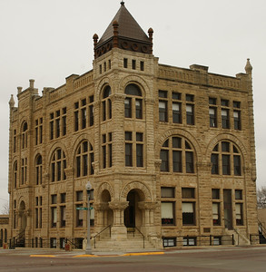 "The Ness County Bank Building in Ness City, KS. Nicknamed ""The Skyscraper of the Plains"". Built in 1890 and was a finalist in the 8 Wonders of Kansas architecture contest sponsered by the Kansas Sampler Foundation. For more information see:   http://getruralkansas.org/Ness-City/199Explore/1000.shtml"