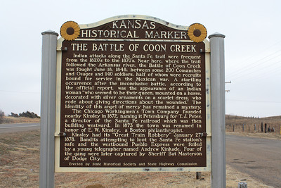 Kansas Historical Marker about the Battle of Coon Creek, along the Santa Fe Trail near present day Kinsley. For more information see:  http://www.santafetrailresearch.com/research/battle-of-coon-creek.html