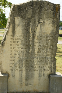Monument in Grenola, western Elk County, about the cattle drives in the area. From 1881 to 1884, Grenola was the busiest shipping point for Texas Longhorn cattle in the US. To learn more about Grenola visit:  http://www.grenolaks.com/rooms.html