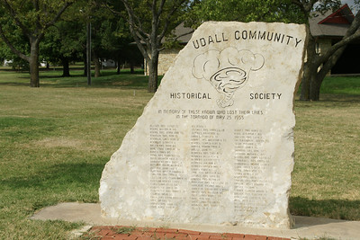 Monument to victims of 1955 tornado in Udall, Cowley County, KS. This event triggered more research into predicting and tracking tornadoes. See a description at the KSHS page: http://www.kshs.org/kansapedia/udall-tornado/12225 See photos from the Wichita Eagle gallery at: http://www.kansas.com/2010/02/10/1174869_a1732715/1955-udall-tornado.html