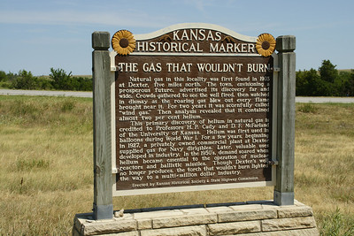 Kansas historical marker at jct of K-15 and US-166 south of Dexter, KS telling of the discovery of helium in natural gas at Dexter. See also the pocket part in downtown Dexter with a marker there. For more information see: http://www.getruralkansas.org/Dexter/57Explore/459.shtml