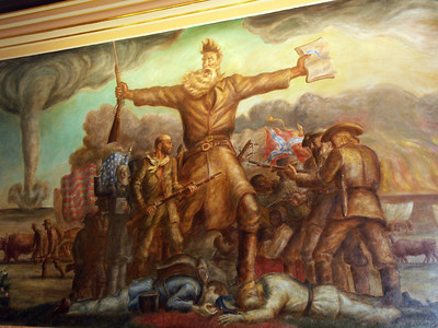 "Part of the John Steuart Curry mural titled ""Tragic Prelude"" depicting John Brown and the anti-slavery movement in Kansas Territory. Just one of several of Curry's murals displayed in the Capitol building. His murals won an 8 Wonders of Kansas Art award presented by the Kansas Sampler Foundation. For more information, see the Foundation's web page at:  http://www.kansassampler.org/8wonders/artresults.php?id=86"