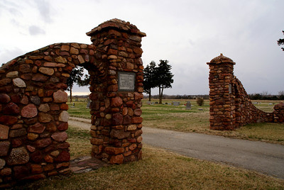 March: Elegant stone entrance gate to Wabaunsee City Cemetery