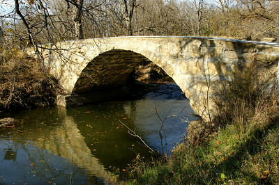 November: Big Badger Creek stone arch bridge in Cowley County