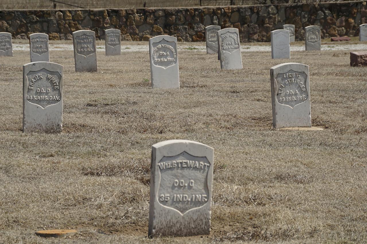 Civil War veterans gravestones in Fort Dodge Cemetery