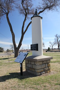 Monument to Robert Wright, who platted Wright Park in Dodge City