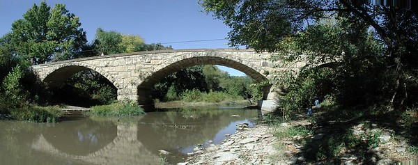 Esch Spur stone bridge - Cowley County Kansas. Stitched panorama of several photos
