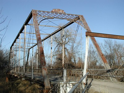 Walnut River iron truss bridge near Douglass - Butler County Kansas