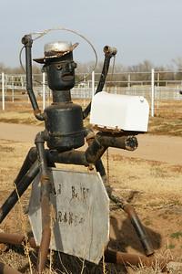 Roping cowboy mailbox art - Sedgwick County Kansas