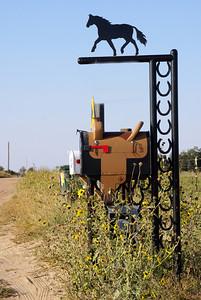 Horse and saddle mailbox - Kiowa County