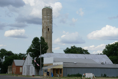 Main Street in Barnard including octagonal water tower. Tower was removed in 2013.