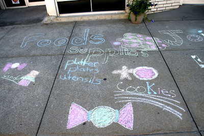 Chalk art on Council Grove sidewalk done by 4H members