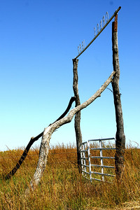 Pasture gate made from logs