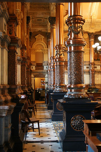 Elegant columns inside Senate chamber at Kansas State Capitol