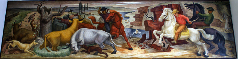 "Section art mural ""Cowboys Driving Cattle"", 1937, by Kenneth Evett in Caldwell Kansas Post Office"