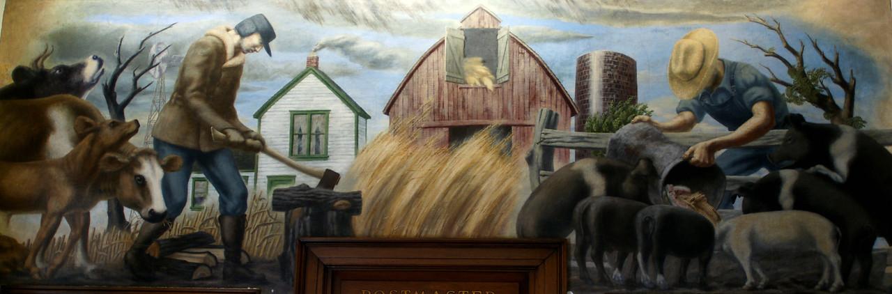 """Section Art Mural """"Farm Life"""" by Robert E. Larter, 1940, in Oswego, KS Post Office"""