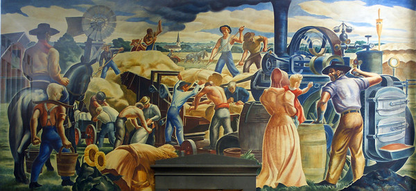 "Section Art mural, ""Threshing in Kansas"" by Lumen Martin Winter, 1942. in Hutchinson, KS Post Office."