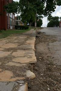 Limestone block sidewalk in Beverly - Lincoln County, Kansas