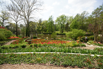 Wide angle view of part of the gardens and the pond. Photo by Larry.