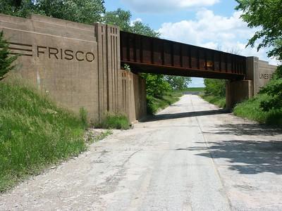 Abandoned art deco Frisco railroad bridge west of Beaumont
