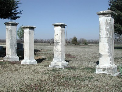 Column tombstones at Fairmount Cemetery north of Potwin
