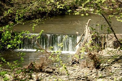 Waterfall in Polecat Creek seen from RedBud bridge - northwest Cowley County