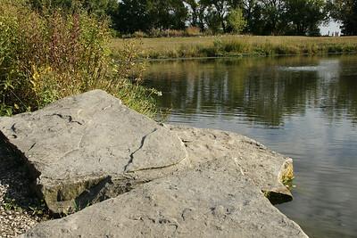 Rock slabs along pond