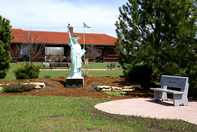 Statue of Liberty monument in park near Missouri Pacific Depot