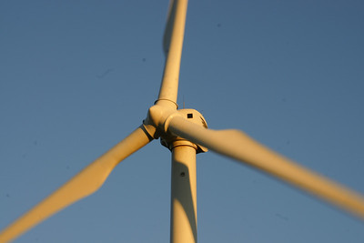 Close-up photo of spinning windmill at northeast Barber County windfarm