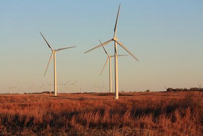 Windfarm windmills in northeast Barber County, Kansas