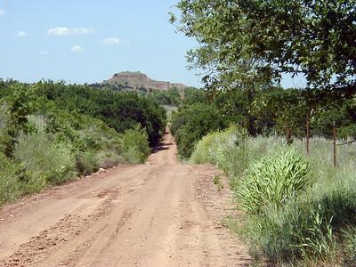 Looking up road towards FlowerPot Mount