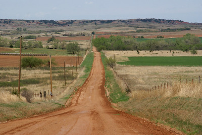 Long range view of Gyp Hills in Southern Barber County, Kansas