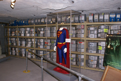 Display of typical movie storage system used by Underground Vaults and Storage in the mine.