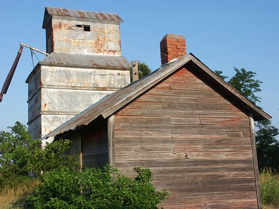 Abandoned buildings at the former townsite of Georgia