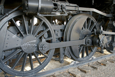 Drive wheels on Historic 1880 Santa Fe steam locomotive in Military Park
