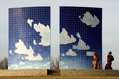 """""""Blue Sky"""" tiled sculpture in Centennial Park"""