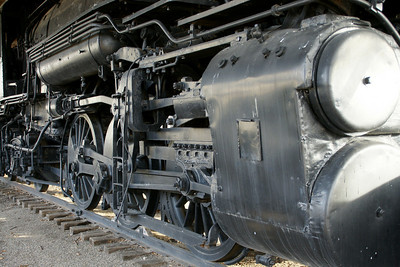 Pistons and wheels on Historic 1880 Santa Fe steam locomotive in Military Park