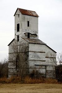 Abandoned wood elevator at south edge of town